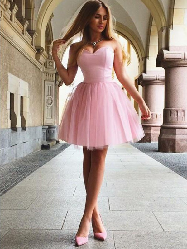 A-Line/Princess Sweetheart Short/Mini Ruffles Satin Dresses
