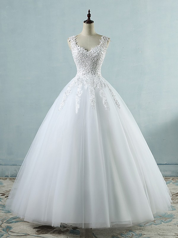 Ball Gown Sweetheart Floor-Length Applique Tulle Wedding Dresses