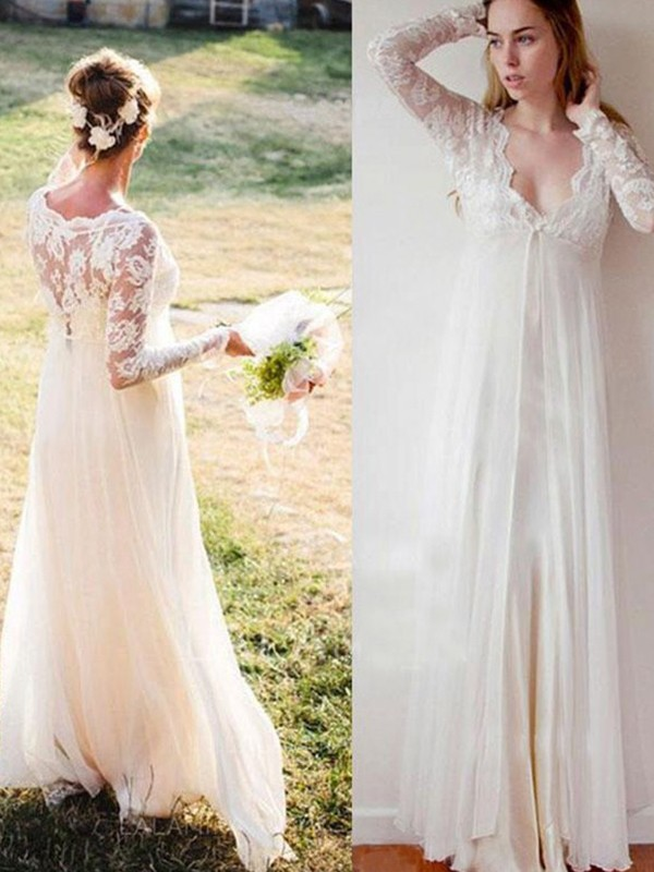 Empire V-neck Floor-Length Lacer Chiffon Wedding Dresses