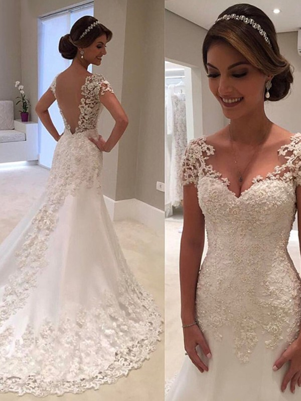 Trumpet/Mermaid Sweetheart Sweep/Brush Train Lace Wedding Dresses