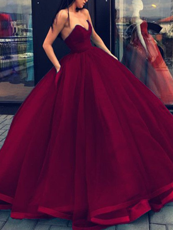 Ball Gown Sweetheart Floor-Length Organza Dresses