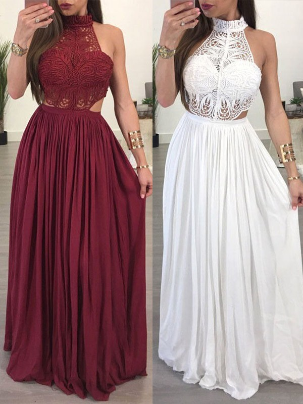 A-Line/Princess Halter Floor-Length Lace Chiffon Dresses