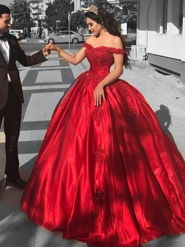Ball Gown Off-the-Shoulder Sweep/Brush Train Lace Satin Dresses