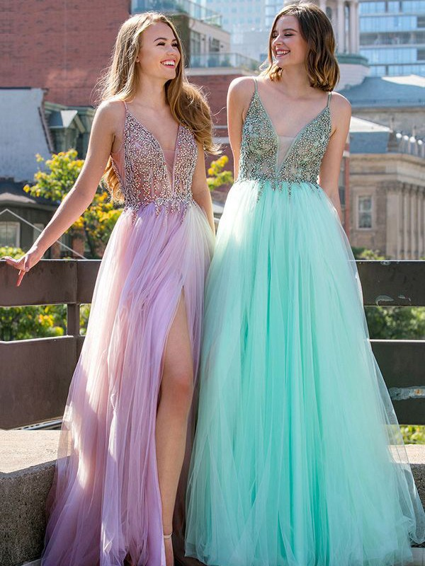 A-Line/Princess V-neck Floor-Length Beading Tulle Dresses