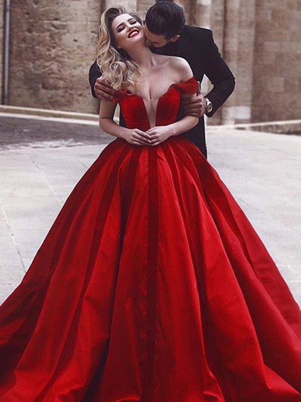 Ball Gown Off-the-Shoulder Sweep/Brush Train Ruffles Satin Dresses