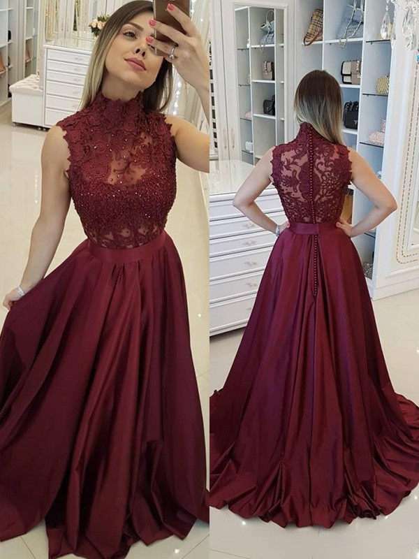A-Line/Princess High Neck Sweep/Brush Train Applique Satin Dresses