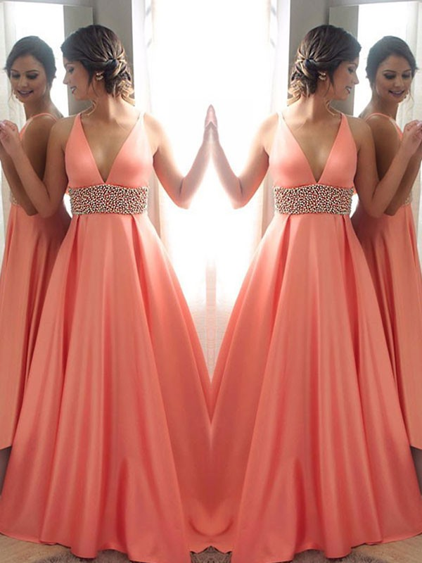 A-Line/Princess V-neck Sleeveless Sweep/Brush Train Satin Dresses