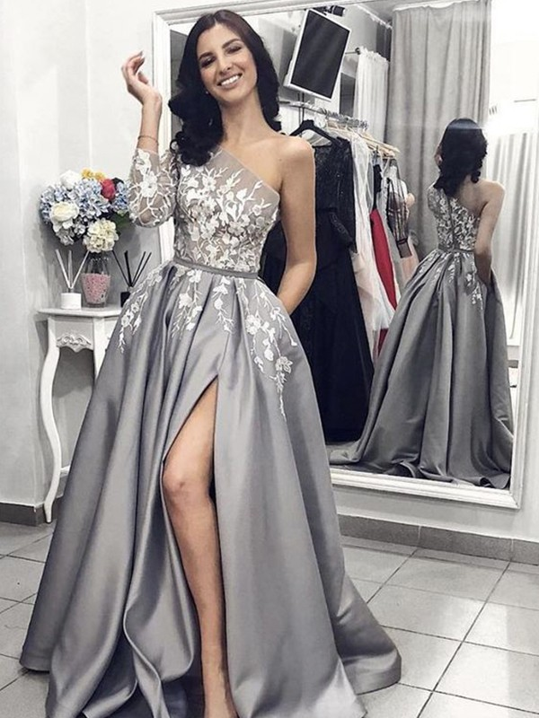 A-Line/Princess One-Shoulder Sleeveless Sweep/Brush Train Satin Dresses