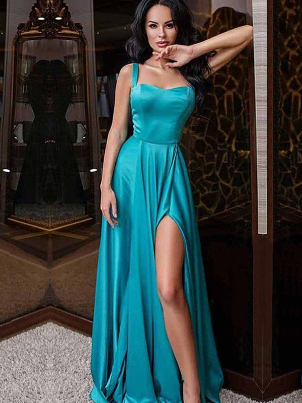A-Line/Princess Straps Sleeveless Sweep/Brush Train Elastic Woven Satin Dresses