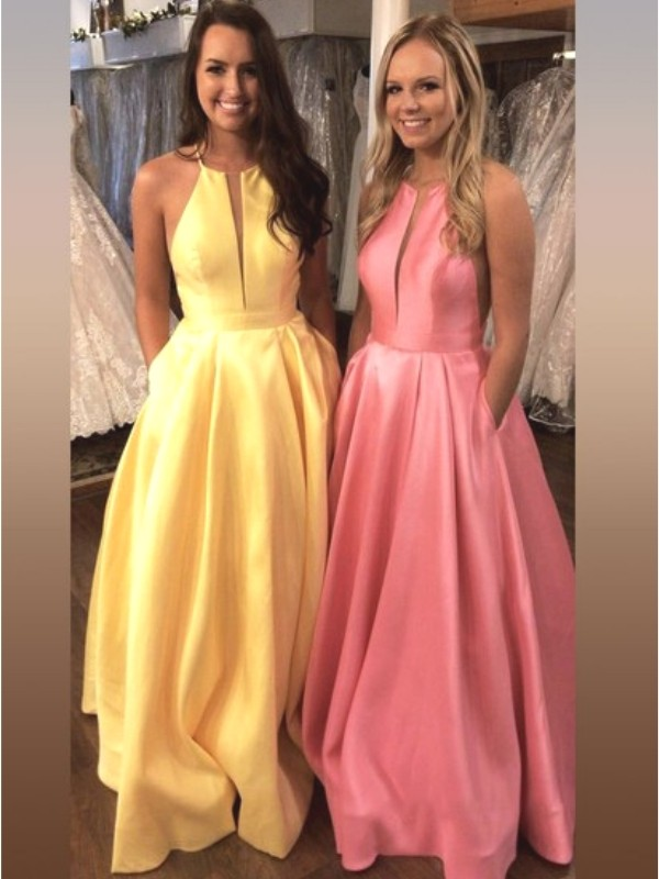 A-Line/Princess Halter Sleeveless Sweep/Brush Train Satin Dresses