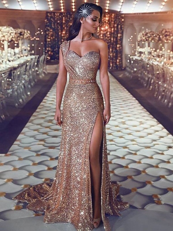 Sheath/Column One-Shoulder Sleeveless Sweep/Brush Train Sequins Dresses