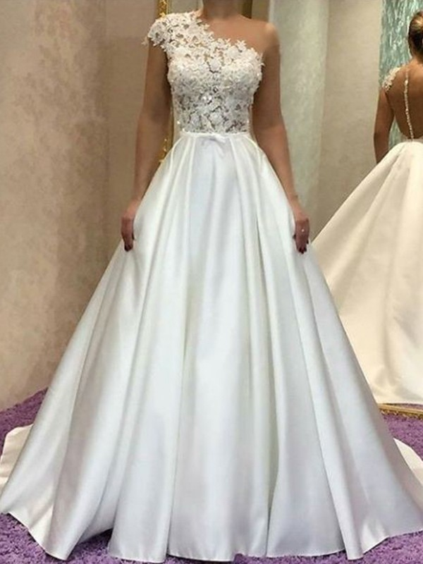 A-Line/Princess One-Shoulder Sleeveless Sweep/Brush Train Satin Wedding Dresses