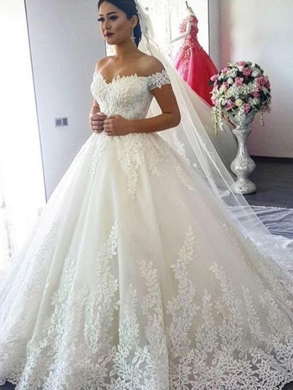 Ball Gown Off-the-Shoulder Sleeveless Sweep/Brush Train Tulle Wedding Dresses