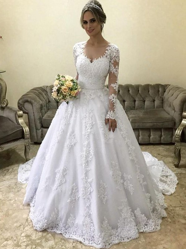 Ball Gown V-neck Long Sleeves Court Train Satin Wedding Dresses