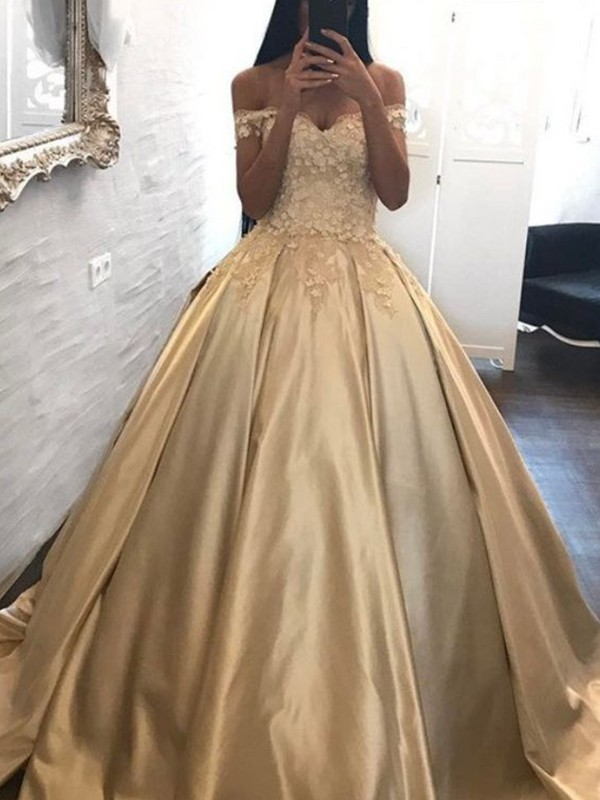 Ball Gown Off-the-Shoulder Sleeveless Sweep/Brush Train Satin Dresses