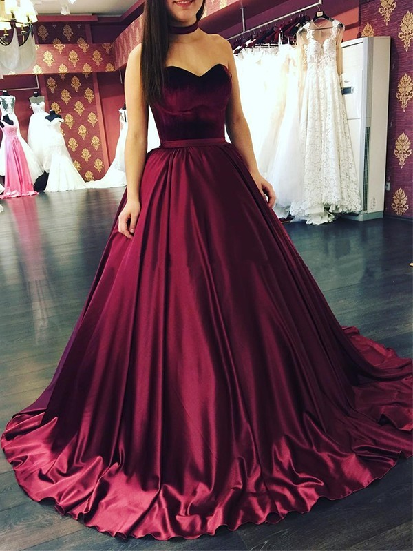 Ball Gown Sweetheart Sleeveless Sweep/Brush Train Satin Dresses