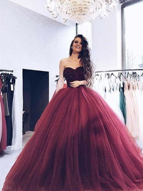 Ball Gown Sweetheart Sleeveless Sweep/Brush Train Tulle Dresses
