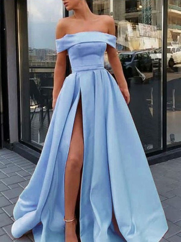 A-Line/Princess Off-the-Shoulder Sleeveless Sweep/Brush Train Satin Dresses