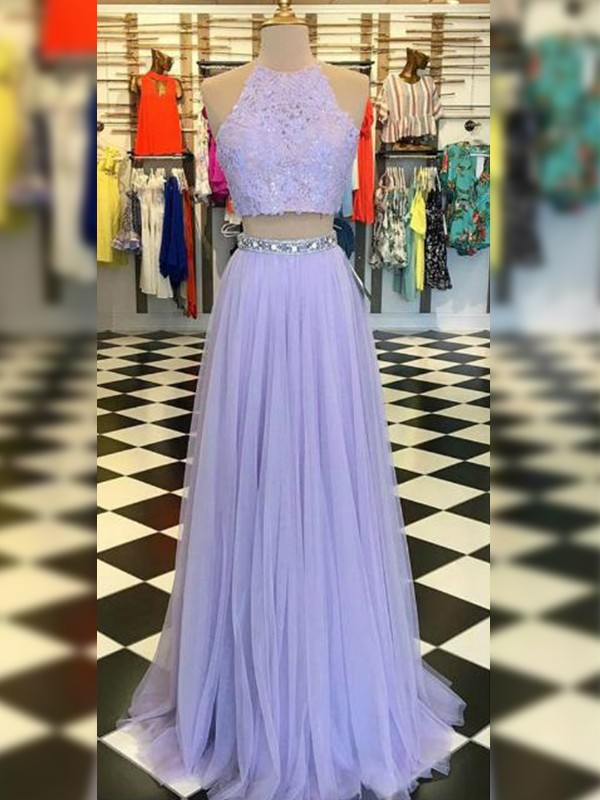 A-Line/Princess Halter Sleeveless Floor-Length Tulle Dresses