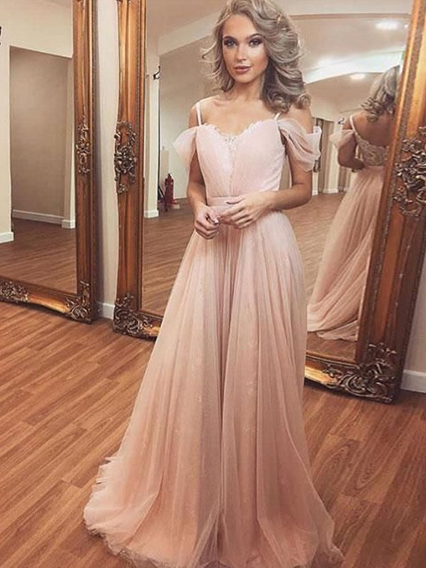 A-Line/Princess Off-the-Shoulder Sleeveless Sweep/Brush Train Tulle Dresses