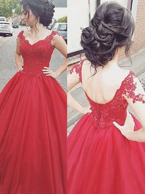 Ball Gown V-neck Sleeveless Floor-Length Satin Dresses