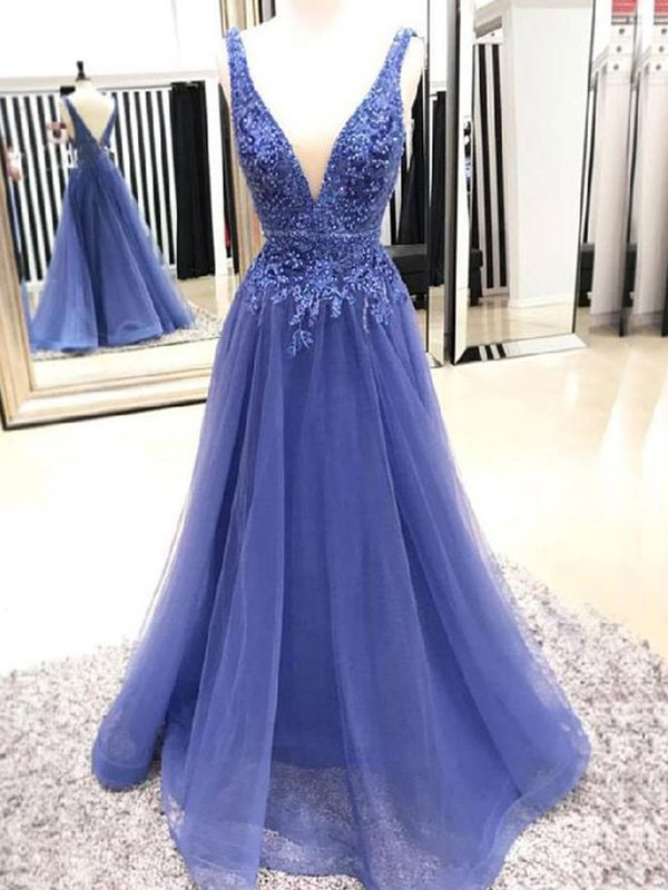 A-Line/Princess V-neck Sleeveless Floor-Length Tulle Dresses