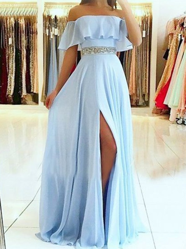 A-Line/Princess Off-the-Shoulder Floor-Length Beading Chiffon Dresses