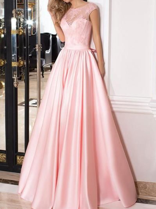 A-Line/Princess Sheer Neck Floor-Length Lace Satin Dresses