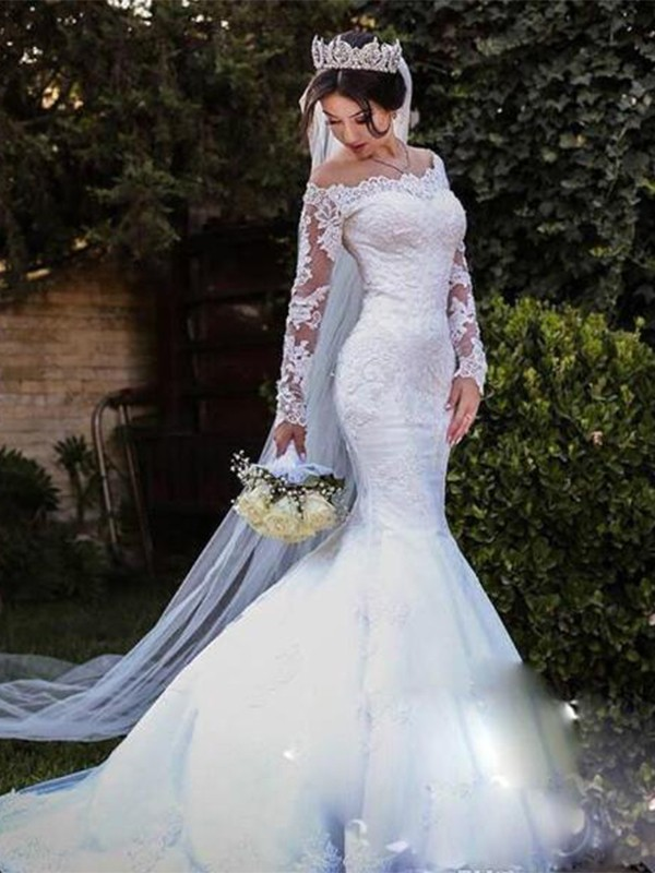 Trumpet/Mermaid Off-the-Shoulder Sweep/Brush Train Lace Tulle Wedding Dresses
