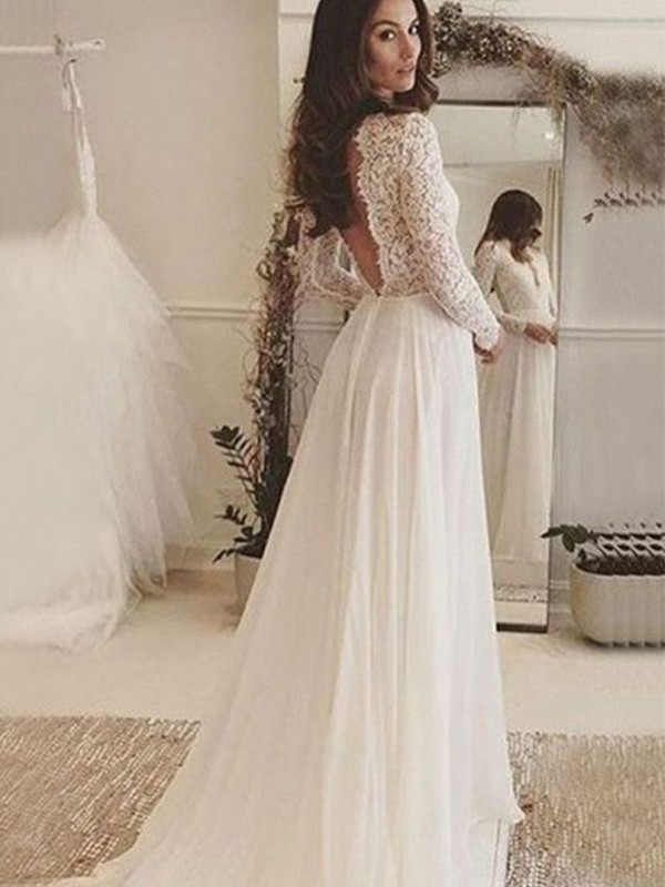 A-Line/Princess Scoop Sweep/Brush Train Lace Chiffon Wedding Dresses