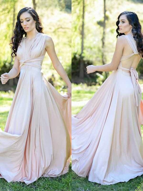 A-Line/Princess V-neck Floor-Length Ruffles Silk like Satin Bridesmaid Dresses