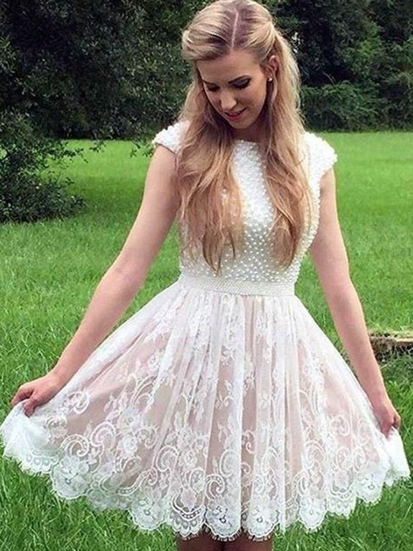 A-Line/Princess Sheer Neck Short/Mini Pearls Lace Dresses