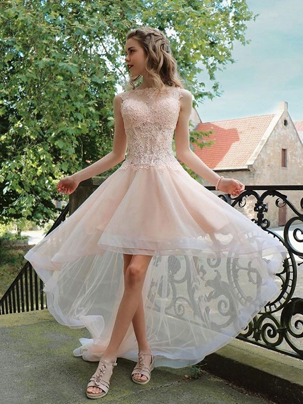 A-Line/Princess Sheer Neck Asymmetrical Applique Organza Dresses