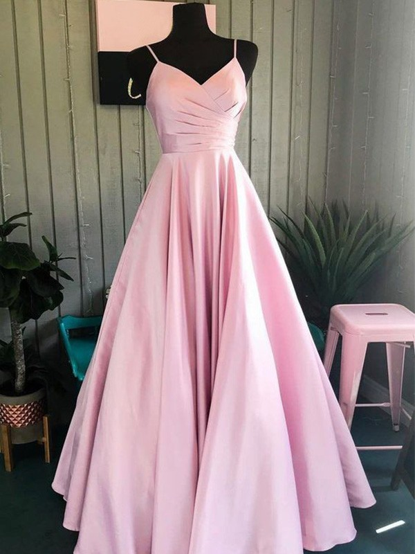 A-Line/Princess Spaghetti Straps Floor-Length Ruched Satin Dresses