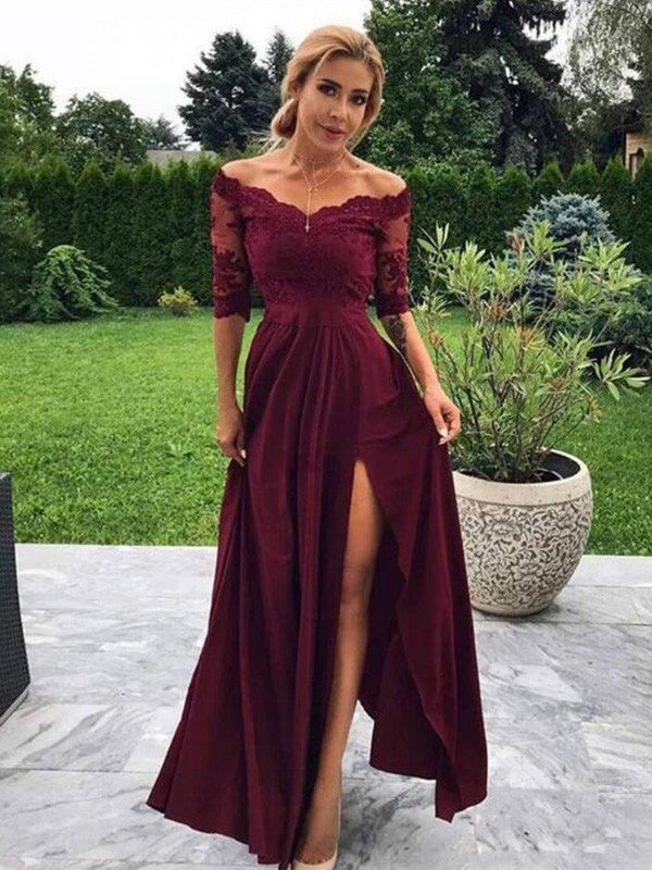 A-Line/Princess Off-the-Shoulder Floor-Length Applique Satin Dresses