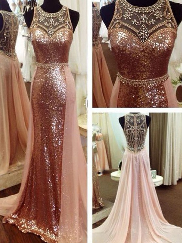 A-Line/Princess Scoop Sweep/Brush Train Beading Sequins Dresses