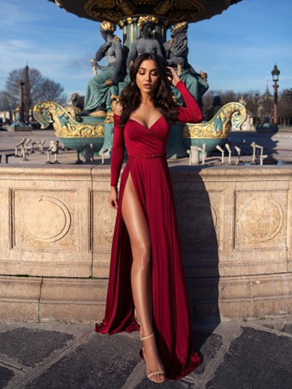 A-Line/Princess Off-the-Shoulder Sweep/Brush Train Ruched Elastic Woven Satin Dresses