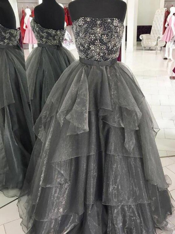 Ball Gown Strapless Floor-Length Beading Organza Dresses