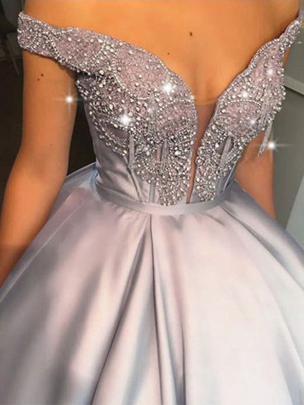Ball Gown Off-the-Shoulder Floor-Length Beading Satin Dresses