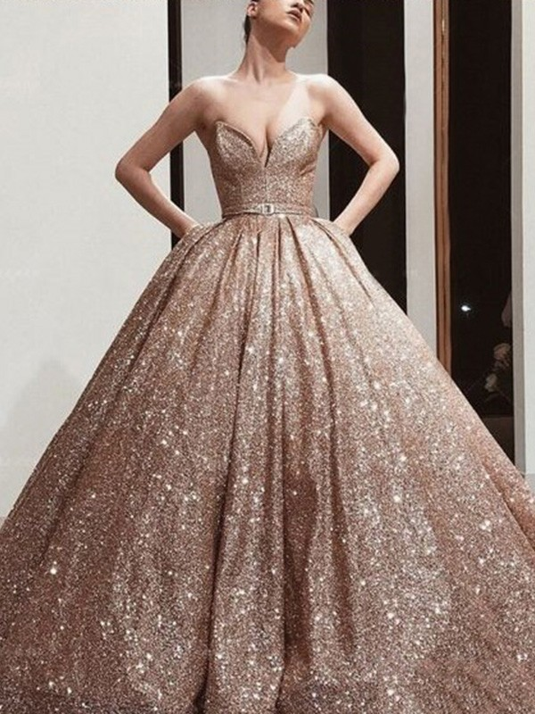 Ball Gown Sweetheart Floor-Length Sash/Ribbon/Belt Sequins Dresses
