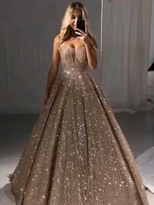 A-Line/Princess V-neck Floor-Length Ruffles Sequins Dresses