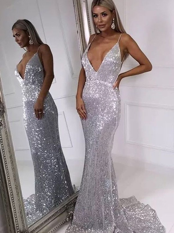 Trumpet/Mermaid V-neck Sweep/Brush Train Ruffles Sequins Dresses