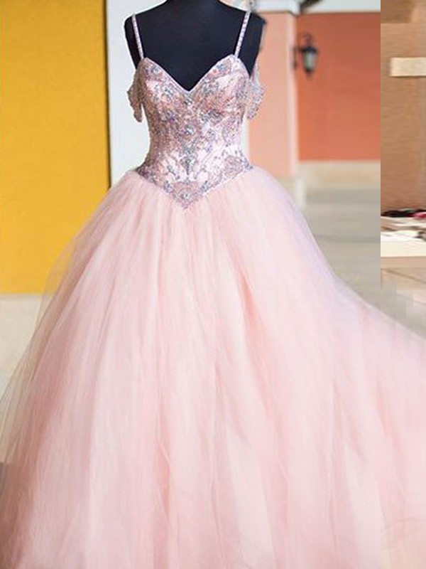 Ball Gown Sleeveless Spaghetti Straps Tulle Long Dresses With Crystal
