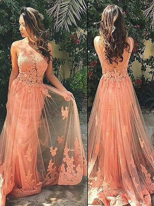A-Line/Princess Straps Sleeveless Tulle Sweep/Brush Train Dresses With Appliques