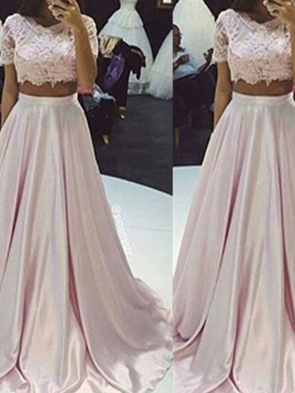 A-Line/Princess Sleeveless Scoop Long Taffeta Two Piece Dresses With With Lace
