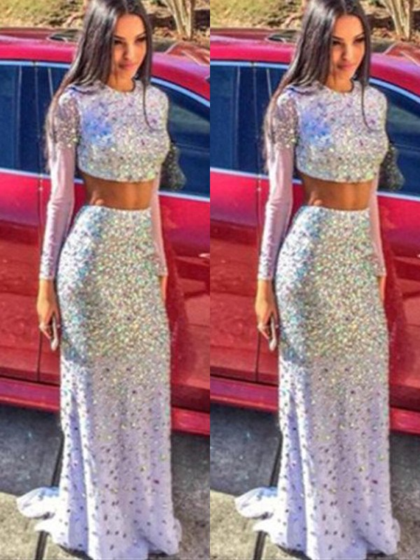 Trumpet/Mermaid Long Sleeves Scoop Sweep/Brush Train Chiffon Two Piece Dresses With Sequins
