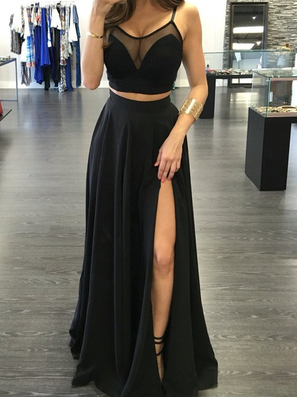 A-Line/Princess Spaghetti Straps Sleeveless Long Chiffon Two Piece Dresses
