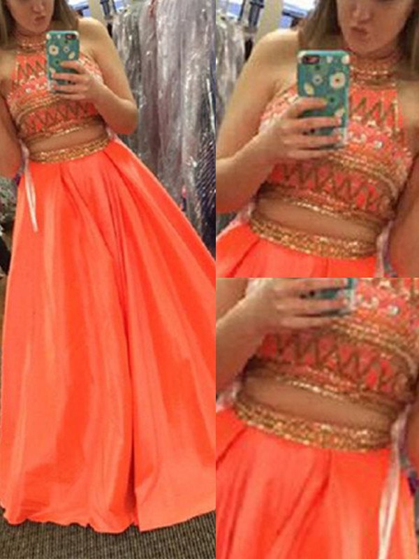 A-Line/Princess Sleeveless High Neck Satin Long Two Piece Dresses With Beading