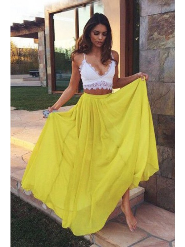 A-Line/Princess Straps Sleeveless Long Chiffon Two Piece Dresses With With Lace