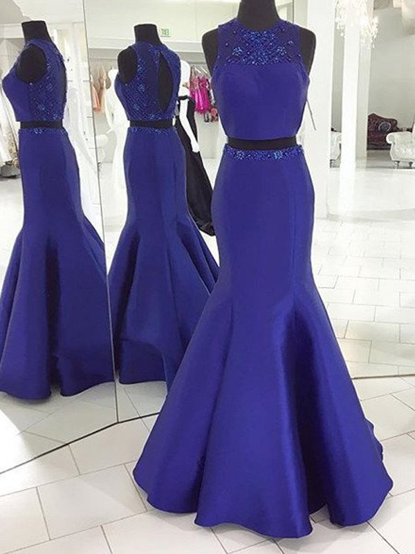 Trumpet/Mermaid Sleeveless Scoop Long Satin Two Piece Dresses With Beading